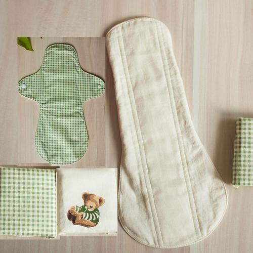 日用/夜用天然純棉/產後 天然純棉布衛生棉29cm 防水手工製作 環保健康可水洗重複使用
