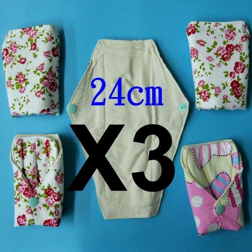 3片 日用一般流量 天然純棉布衛生棉24cm 防水手工製作 環保健康可水洗重複使用.