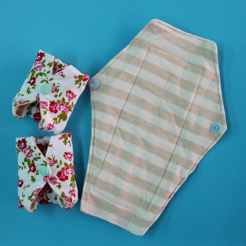 日用一般流量/漏尿 超級柔軟針織天然純棉布衛生棉24cm 防水手工製作 環保健康可水洗重複使用