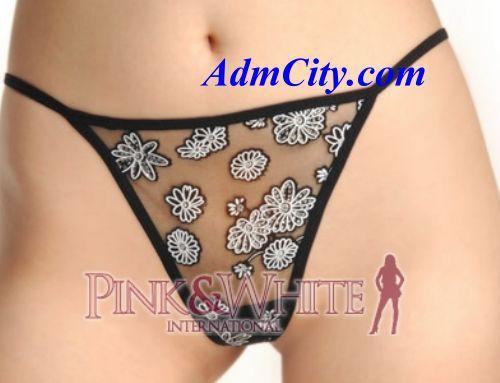 透明花型薄紗超性感丁字褲