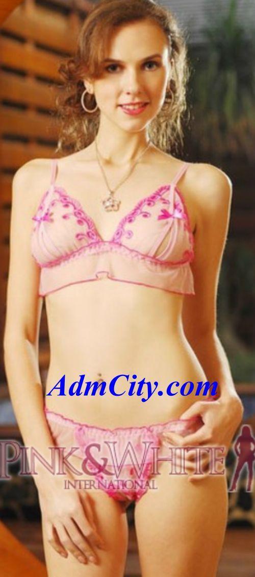 潤繡設計露咪咪胸罩 & 開檔/下開式丁字褲, 2件式組