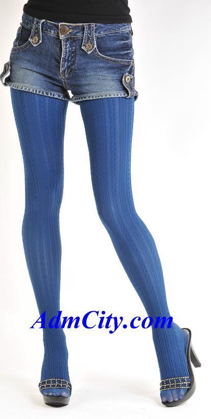 藝術直條紋設計不透明褲襪.