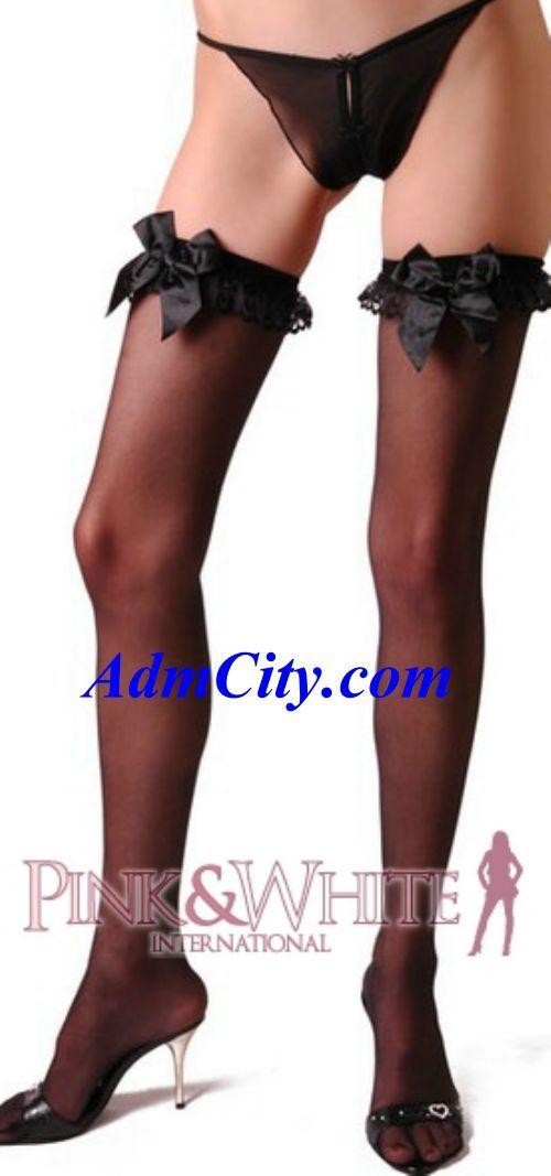 蕾絲荷葉邊&蝴蝶結透明大腿襪/長統襪