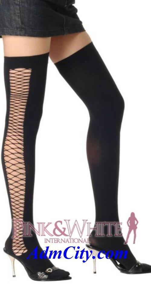 側邊網狀造型大腿襪/長統襪