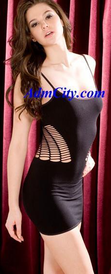 腰背性感挖洞細線不透明伸縮迷你洋裝.
