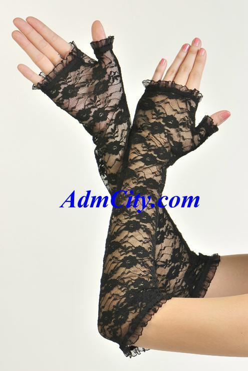 露指蕾絲手套手肘長度,42cm.