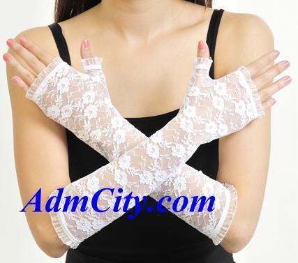 露指蕾絲手套手肘長度,32cm.