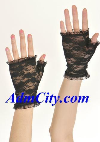 露指蕾絲手套手腕長度.