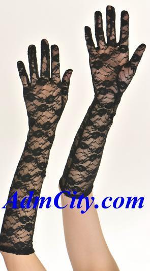 蕾絲手套手肘長度,45cm.