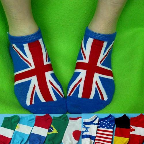 國旗圖案女生隱形襪 英國國旗德國國旗日本國旗巴西國旗 適合最大腳長:24.5公分.