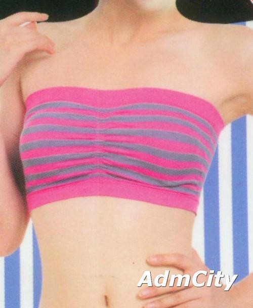 無肩帶條紋小可愛 胸罩. 95% nylon 5% spandex