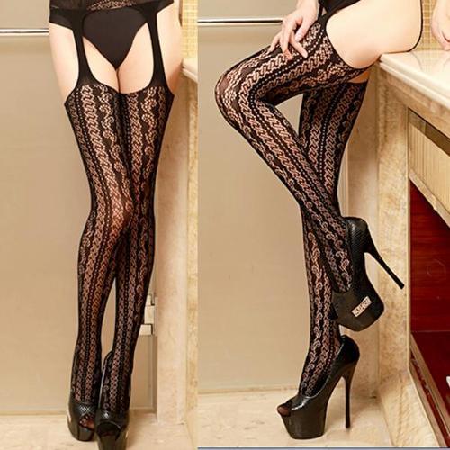 性感花紋吊襪帶式網襪長統襪褲襪角色扮演復古樣式,吊襪帶式網襪合而為一