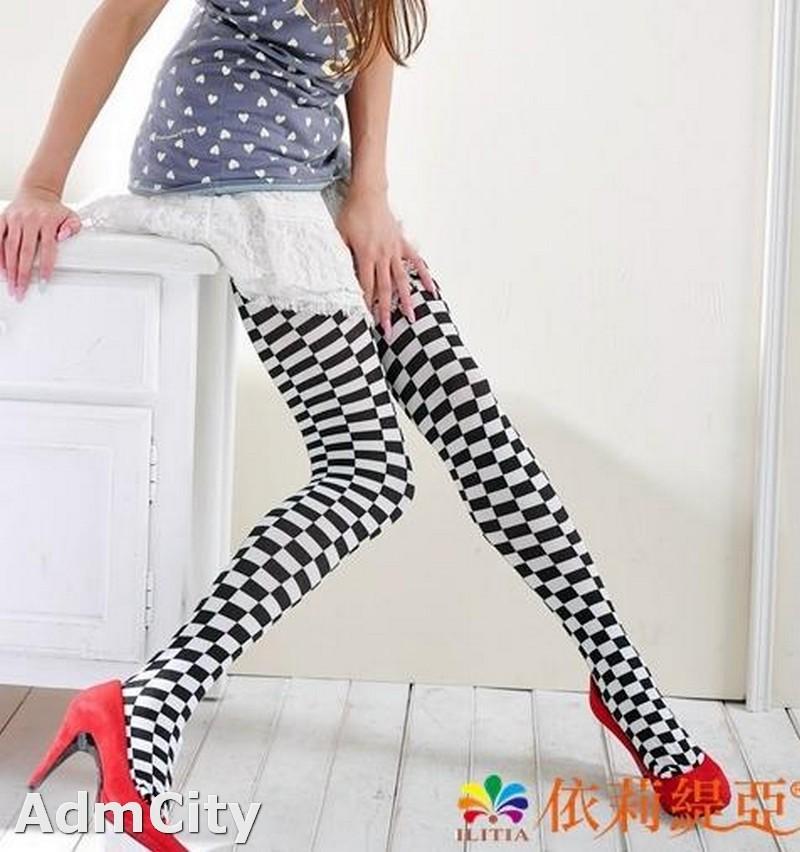 西洋棋造型spandex彈性纖維褲襪,柔軟親膚,特好穿