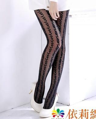 日系風格透明褲襪,超彈性希臘藤蔓直條紋不對稱條紋設計,spandex彈性纖維
