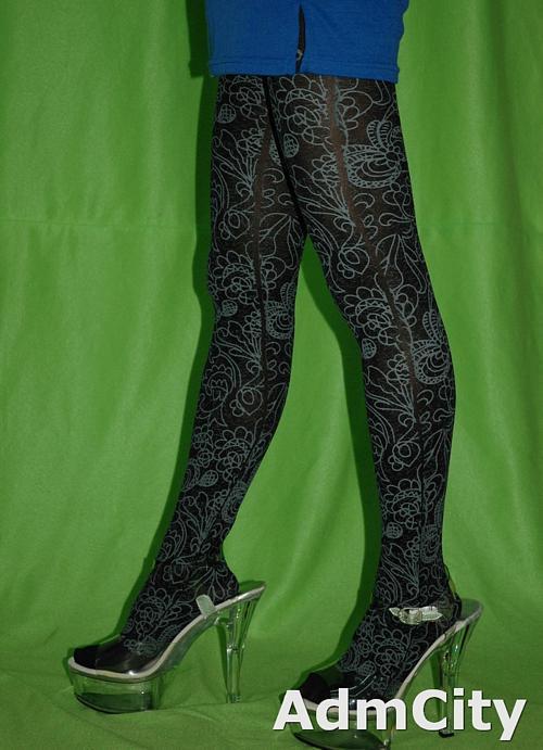 黑色不透超彈性纖維褲襪花蝴蝶圖片tribal設計, 超彈性 個性圖鴉 不透明褲襪.