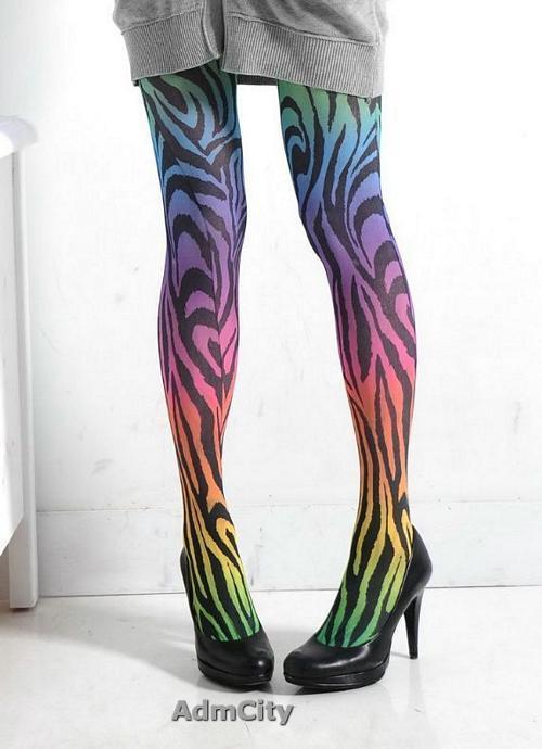 漸層老虎色不透超彈性纖維褲襪