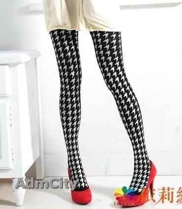 銀色千鳥格紋不透超彈性纖維褲襪.黑色褲襪.