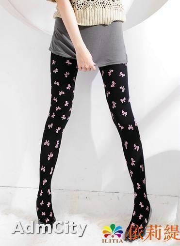 可愛風格粉紅蝴蝶結 不透超彈性纖維褲襪
