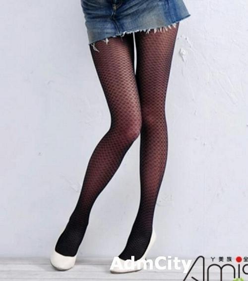 伸縮薄紗超彈性格紋褲襪.