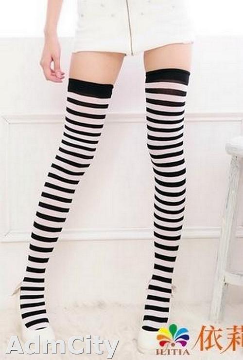 立體條紋 不透明大腿襪.