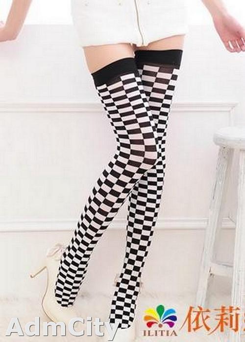 黑白格紋西洋棋賽車方格造型長統襪大腿襪.