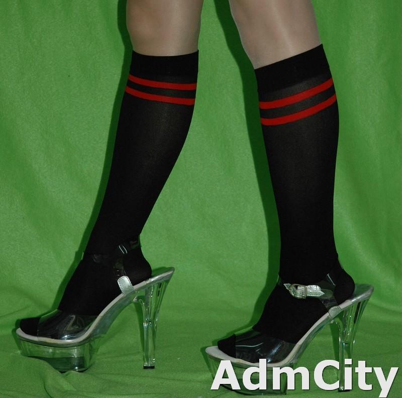 足球風  超彈性 不透明中統絲襪