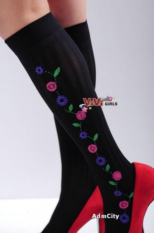 流行印花 小花 不透明中統絲襪