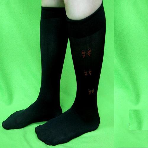 半透明蝴蝶結閃爍裝飾色膝蓋長度女襪學校辦公室女人可愛襪子