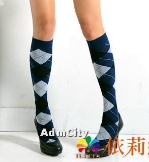 學院風 超彈性 蘇格蘭格紋 不透明中統襪