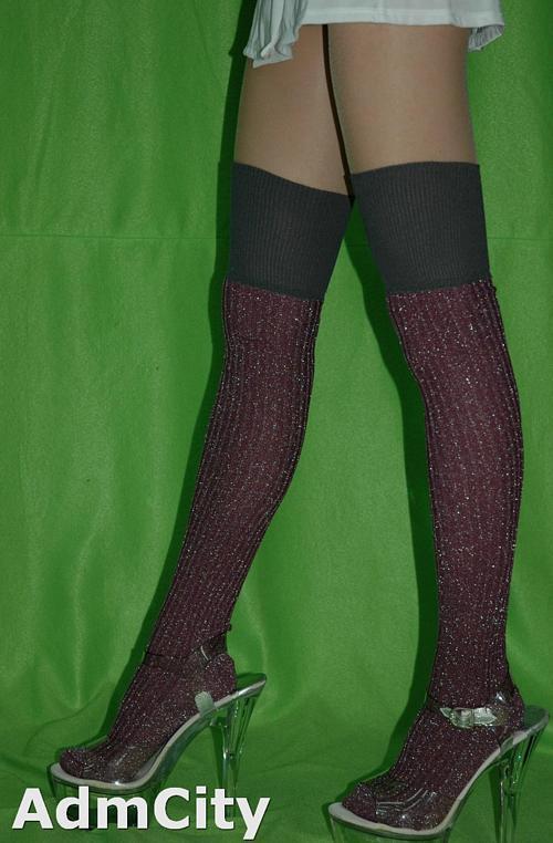 百變造形  超彈性 雙色蔥樣  羅紋不透明大腿襪