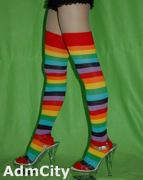 超彈性 彩虹造型 不透明大腿襪