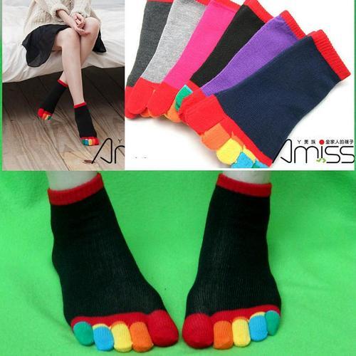 女用分開腳趾襪子五趾襪五指襪忍者襪可愛時尚多色彩虹短襪