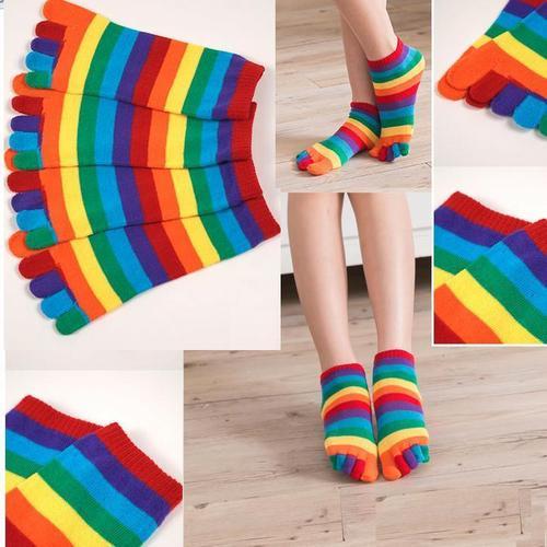 女用分開腳趾襪子忍者襪五趾襪五指襪彩虹條紋短襪