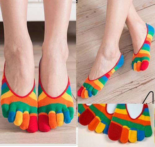女用分開腳趾襪子五趾襪五指襪忍者襪隱形襪可愛時尚彩虹條紋短襪