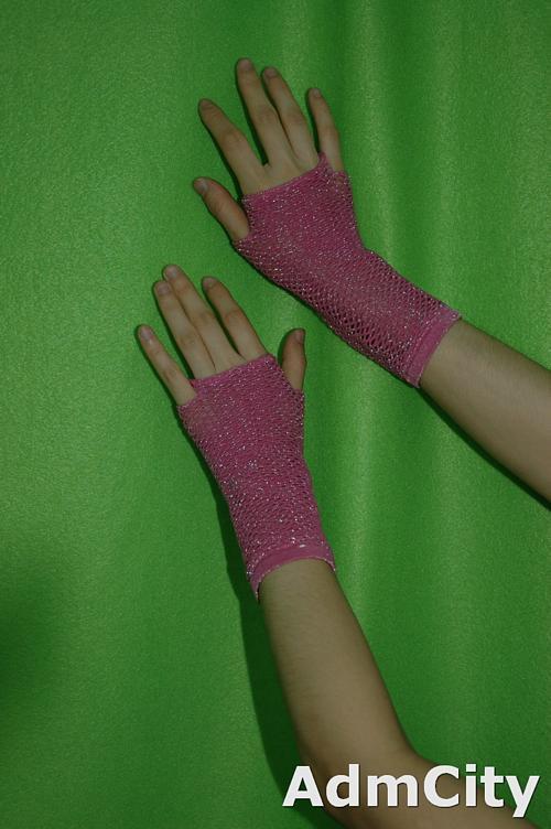 超彈性韓式流行細網手套袖套金銀紗/金銀蔥Lurex超彈性手腕長度無指手套