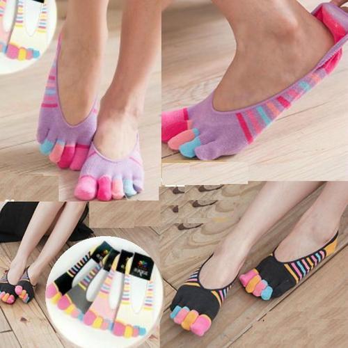男女通用, 彩色條紋五指防滑隱形襪, 隨機出貨