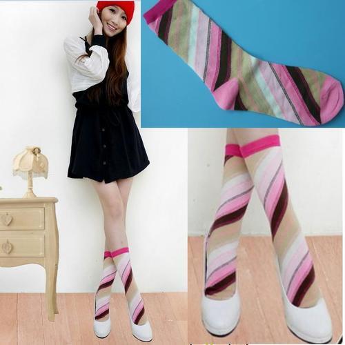 超彈性纖維小腳短襪女用可愛時尚彩虹斜條紋短襪