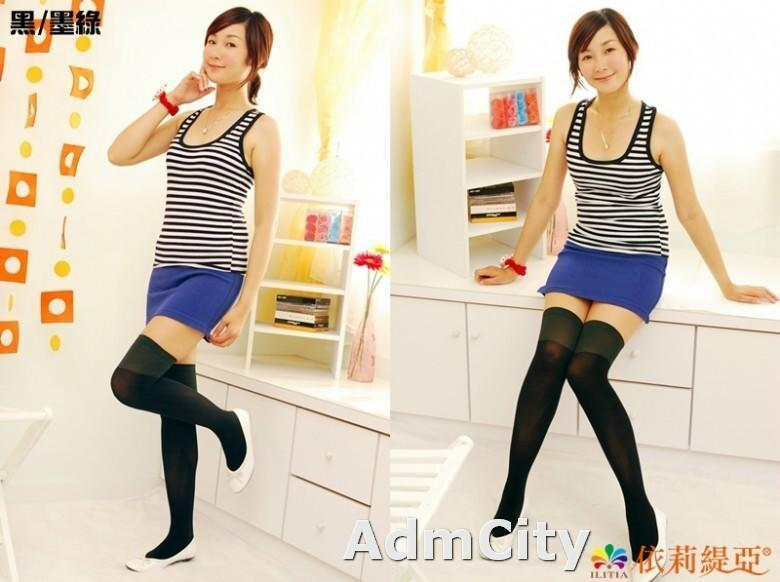 韓系風格超彈性雙色拼接柔軟天鵝絨過膝襪