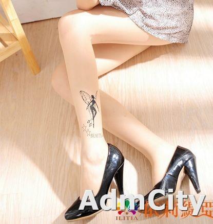 花仙子 透明刺青褲襪.超彈性連褲襪適合身高140到160公分.體重35公斤到45公斤.腰圍:21英吋到25英吋.
