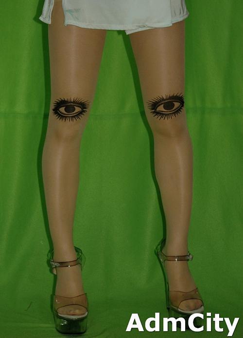 魅惑眼睛 透明刺青褲襪彈性連褲襪.適合身高140到160公分.體重35公斤到45公斤.腰圍:21英吋到25英吋.