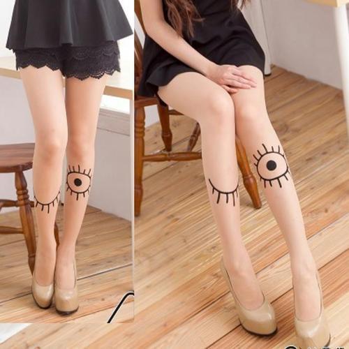 刺青紋路眼睛眼睫毛花紋褲襪復古樣式韓系日系流行,這件是褲襪