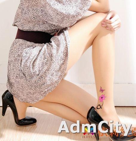 花刺青形透明超彈性纖維褲襪.適合身高140到160公分.體重35公斤到45公斤.腰圍:21英吋到25英吋.