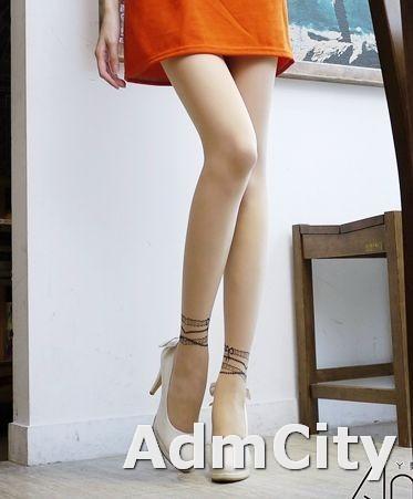 假腳踝手鍊刺青透明超彈性連褲襪適合身高140到160公分.體重35公斤到45公斤.腰圍:21英吋到25英吋.
