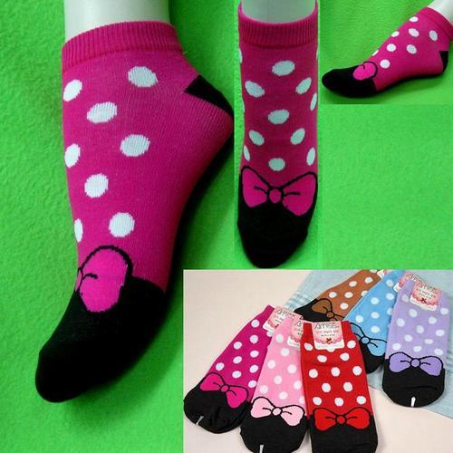 女生可愛蝴蝶點點圖案短襪腳踝襪, 不選色隨機出貨