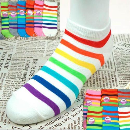 彩色條紋 腳踝女短襪, 不選色隨機出貨