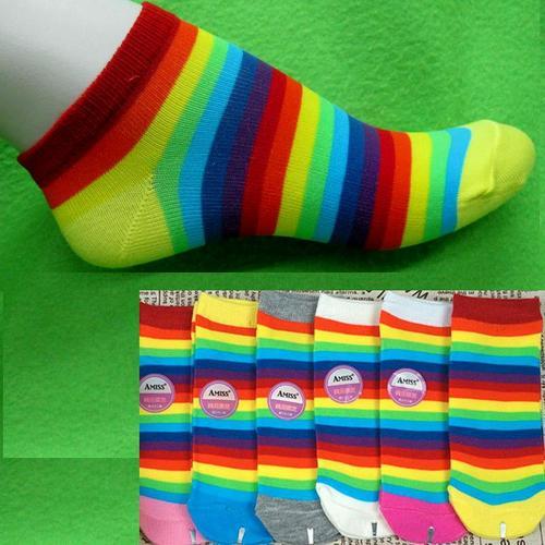 條紋腳踝女短襪, 不選色隨機出貨