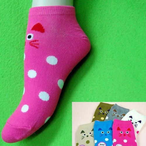 小貓樣式,腳踝女短襪,不選色隨機出貨