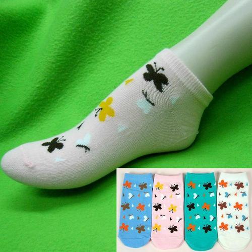 蝴蝶樣式,腳踝女短襪,不選色隨機出貨