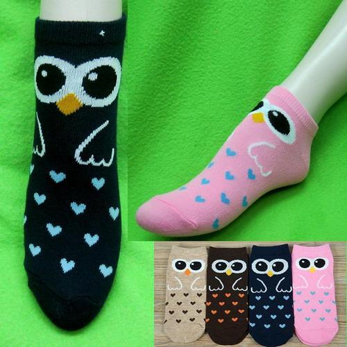貓頭鷹樣式,腳踝女短襪,不選色隨機出貨