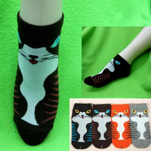 高傲貓圖案,腳踝女短襪,不選色隨機出貨
